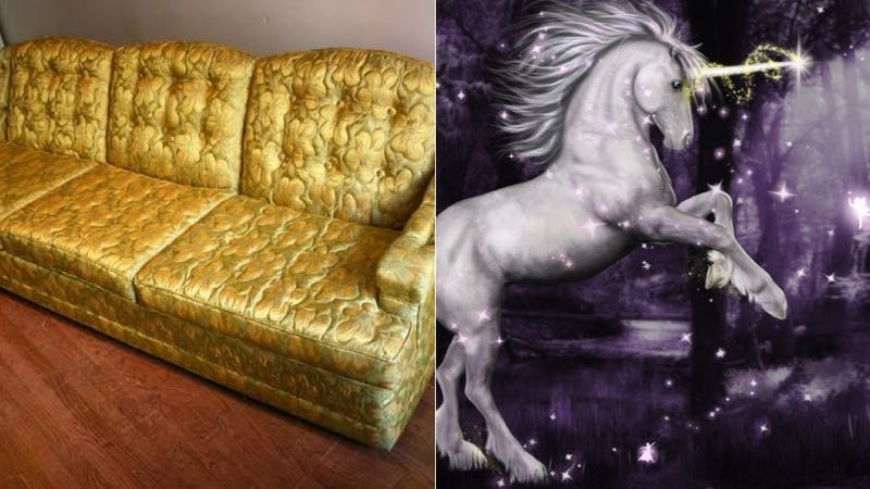 Illustration for article titled No Unicorns Were Harmed in Making This Craigslist Couch (Probably)