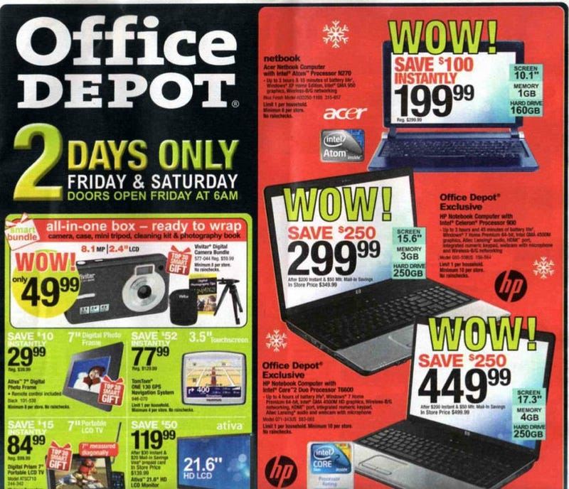 Illustration for article titled Office Depot's Black Friday Ad: Grab an Acer Netbook for $200
