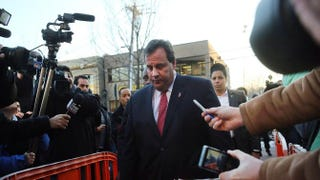 New Jersey Gov. Chris Christie enters the Borough Hall in Fort Lee to apologize to Mayor Mark Sokolich on Jan. 9, 2014.Spencer Platt/Getty Images