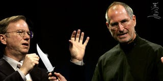 Illustration for article titled So Awkward: Steve Jobs and Eric Schmidt's Body Language Analyzed