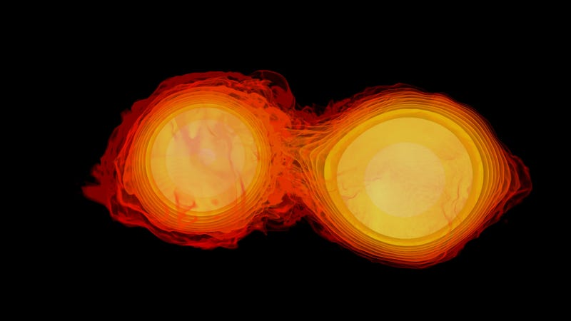 Simulation of colliding neutron stars, an image I picked because it looked cool (Image: NASA Goddard Space Flight Center/Flickr)
