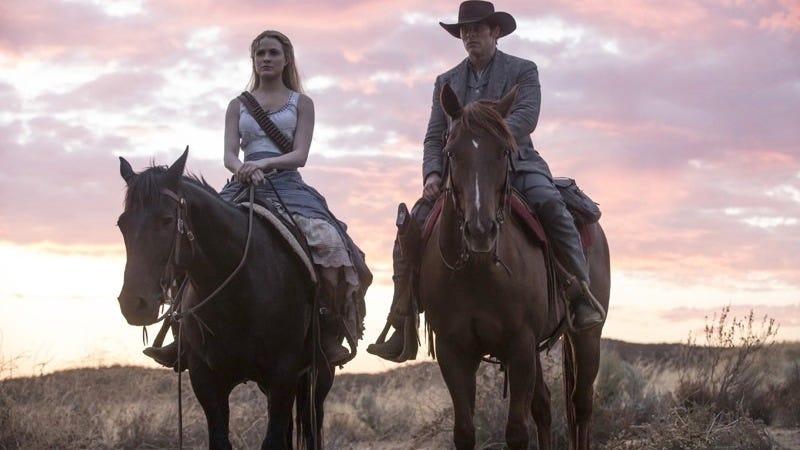 Dolores (Evan Rachel Wood) and Teddy (James Marsden) ride off into the sunset... sorta.