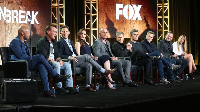 Actors Rockmond Dunbar, Robert Knepper, Mark Feuerstein, Sarah Wayne Callies, Dominic Purcell, and Wentworth Miller, creator/executive producer Paul Scheuring, executive producers/writers Vaun Wilmott and Michael Horowitz, and executive producer Dawn Olmstead onstage during the FOX portion of the 2017 Winter Television Critics Association Press Tour. (Photo: Frederick M. Brown/Getty Images)