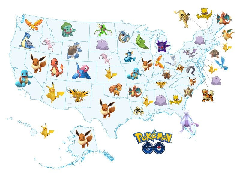 Illustration for article titled Pokemon Go - Pokemon Top Searches By States