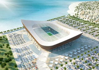 Illustration for article titled Five Amazing Solar Stadiums To Be (Hopefully) Built In Qatar For 2022 FIFA World Cup