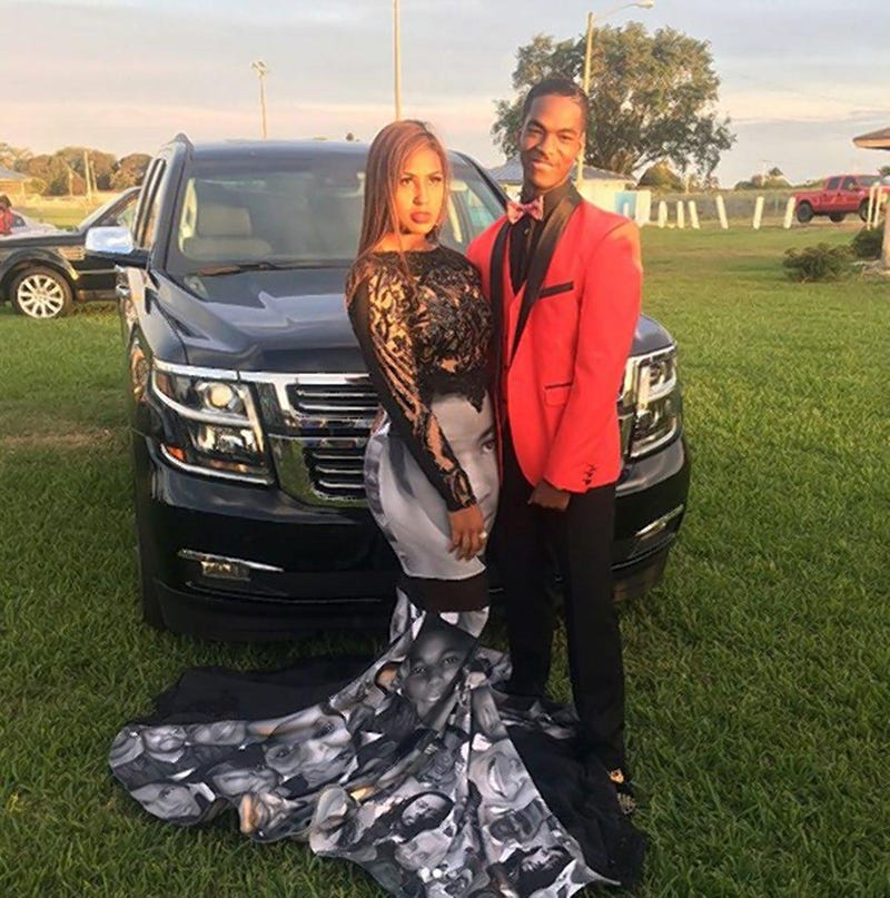 Milan Morris attended prom in a Black Lives Matter-themed dress. (_Milan23_ via Instagram)