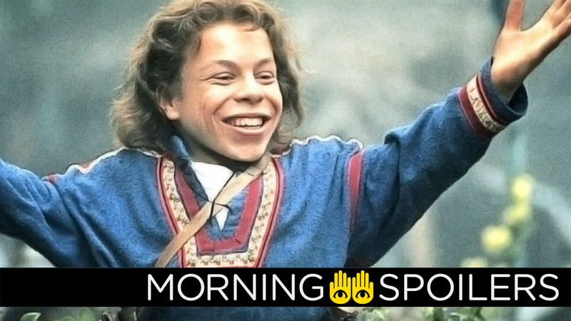 Warwick Davis, triumphant as Willow in 1988.