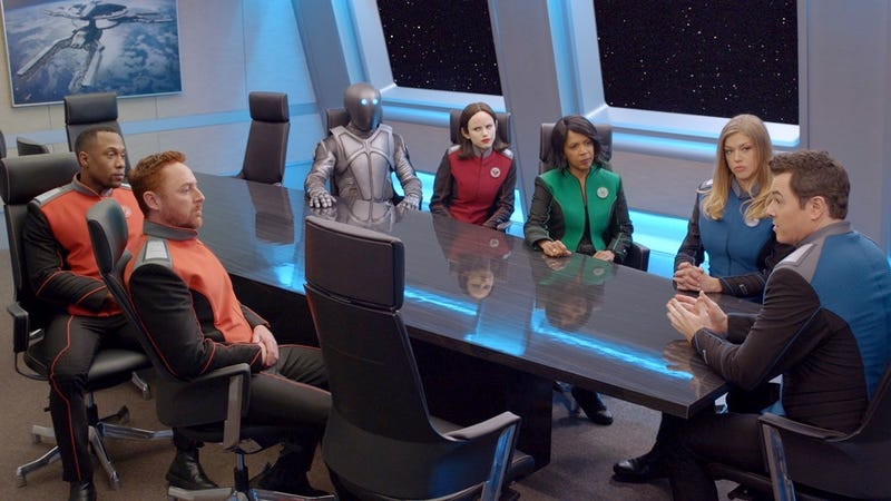 "The gang's all here (except Bortus) in The Orville's season two premiere, ""Ja'loja."""