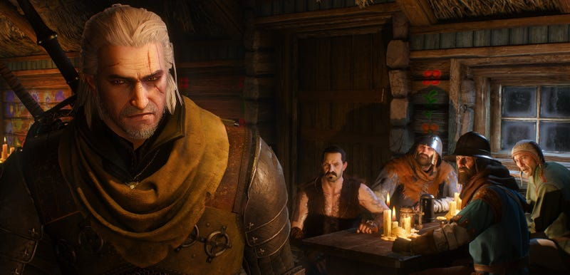 This is you all talking about your favorite part of The Witcher 3. I'm Geralt, walking away because I haven't gotten to that part yet.