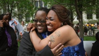 Shanelle Moffett and Tenisha Watkins at their civil union ceremony in Chicago in JuneScott Olson/Getty Images