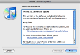 Illustration for article titled iPhone 2.0.1 Update Now Available (Also Available For iPod Touch)