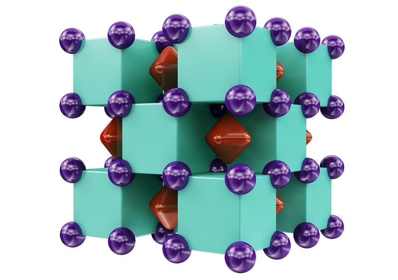 Ilustración del compuesto. Los átomos de helio son los cubos verdes y el sodio las esferas moradas. Los cubos rojos son los electrones compartidos por ambos. Foto: Artem R. Oganov