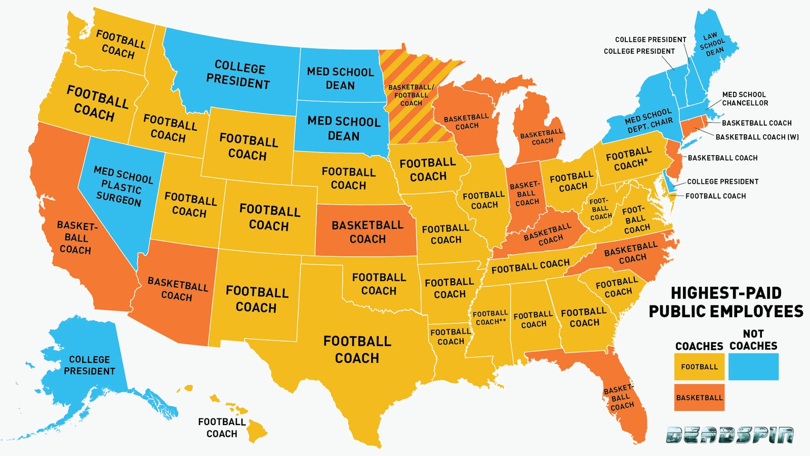 Infographic Is Your States HighestPaid Employee A Coach Probably - Universities in usa map