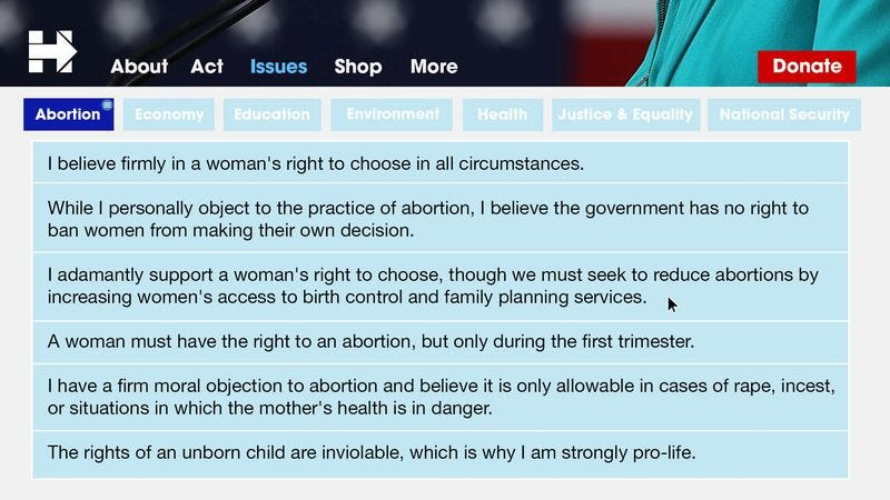 The campaign website displays Clinton's firm conviction on abortion rights, as chosen by Tacoma, WA voter Lillian Nguyen.