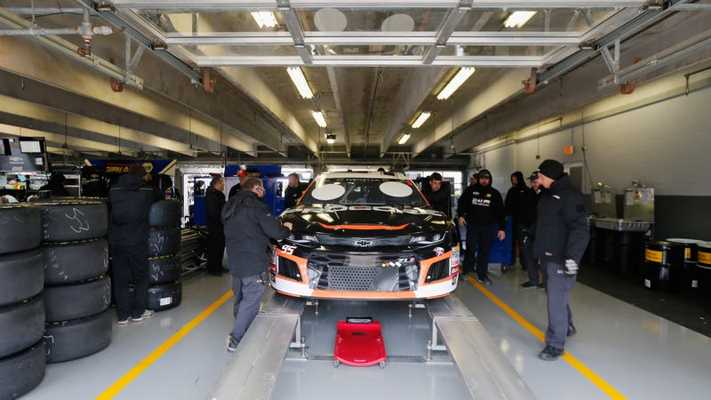 Kasey Kahne's No. 95 car goes through inspection at Texas Motor Speedway. Kahne was one of the drivers who didn't get to qualify in Kansas.