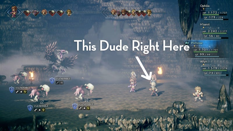 Image of: Couple Every Party Member In Octopath Traveler Has Special Ability That Allows Them To Interact With Npcs Throughout The World Ophilia The Cleric And Primrose Kotaku Octopath Travelers Best Npc Is This Reclusive Old Man