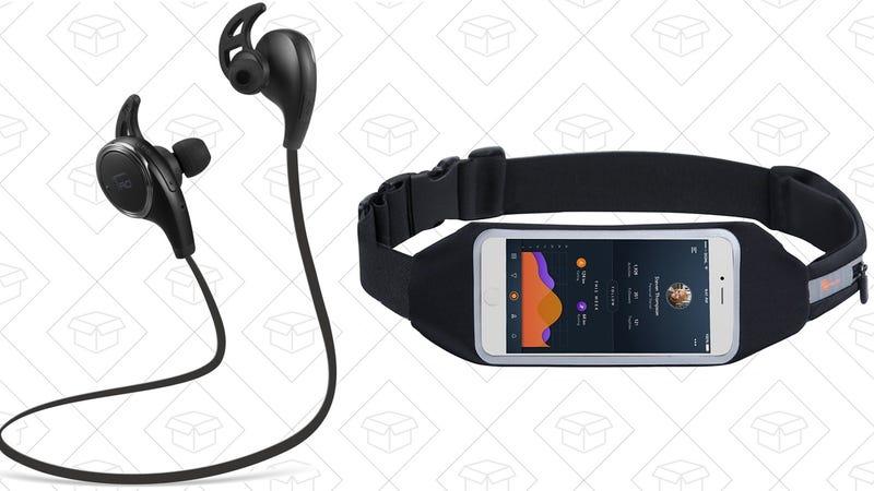 TaoTronics Bluetooth Headphones + Running Belt, $22 with code EF6ZA9AL