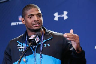 University of Missouri defensive lineman Michael Sam speaks to the media during the 2014 NFL Combine at Lucas Oil Stadium on Saturday. Joe Robbins/Getty Images