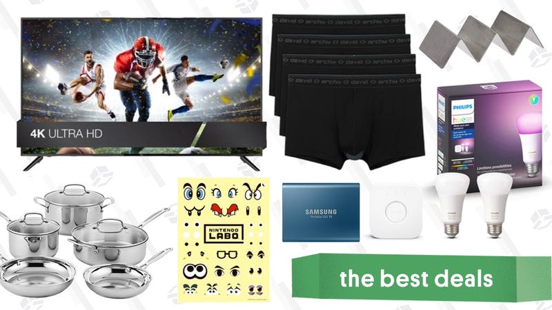 "Illustration for article titled Tuesday's Best Deals: 65"" 4K TV, Philips Hue Accessories, David Archy Underwear, and More"