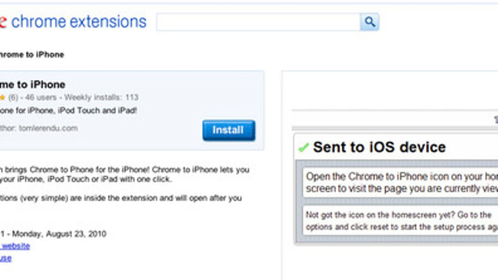 Send Links From Chrome to Your iOS Device