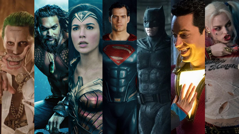 The gathered heroes, villains, and potentially exiting stars of the DC movieverse.