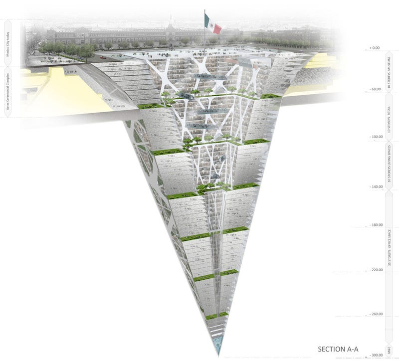 Illustration for article titled The Earthscraper, a 65-story-tall skyscraper buried under Mexico City