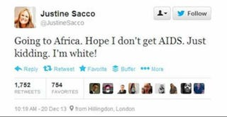 Illustration for article titled PR Exec Justine Sacco Sends Racist Tweet About Getting AIDS in Africa