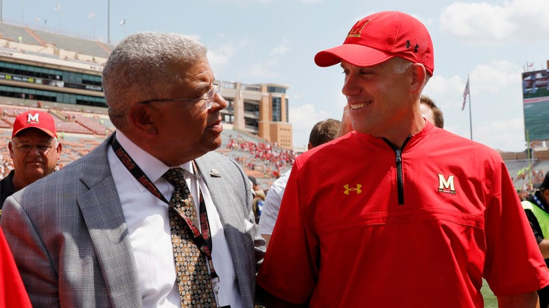Kevin Anderson (left) with Maryland football head coach D.J. Durkin
