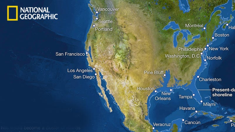 How Earth's coastlines would look if all ice melted (bye Florida!) on map of sea water rising, with world map ice caps melted, map of earth after ice caps melt, if all of earth's ice melted,