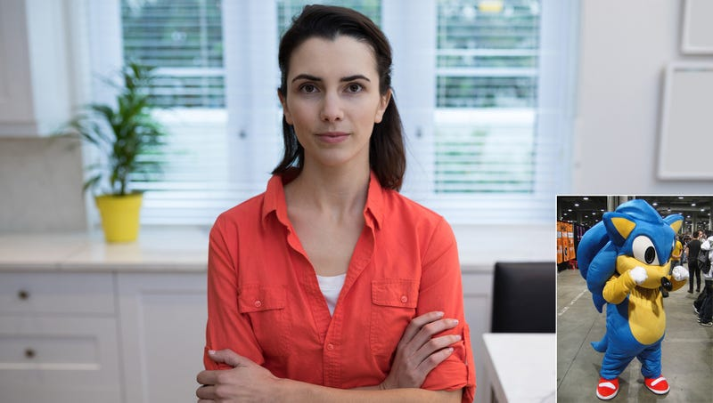 Illustration for article titled 'Nothing Is More Attractive Than Confidence,' Says Woman Who Has Apparently Never Seen Sonic The Hedgehog Cosplay