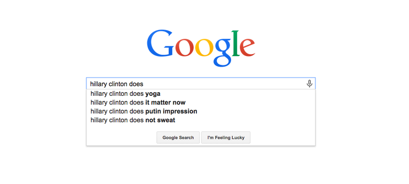 Illustration for article titled What Hillary Clinton Does, According to Google Autofill