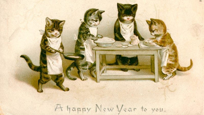 happy new year and good luck sleeping off that hangover no matter how exhausted you are do not let your cats make you breakfast