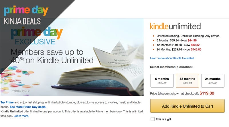 Illustration for article titled Save Up to 40% on a Kindle Unlimited Subscription, Today Only