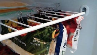 Illustration for article titled Hang Bags In the Freezer With Binder Clips