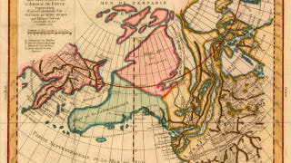 Illustration for article titled Beautiful (but inaccurate) 18th Century French map depicts Alaska like you've never seen it