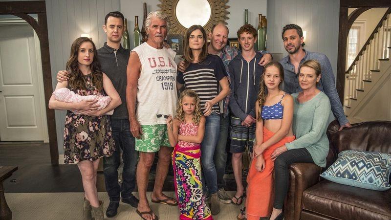 Clockwise, from left: Zoe Lister-Jones, Colin Hanks, James Brolin, Betsy Brandt, Dan Bakkedahl, Niall Cunningham, Thomas Sardoki, Dianne Wiest, Holly J. Barrett, Giselle Eisenberg
