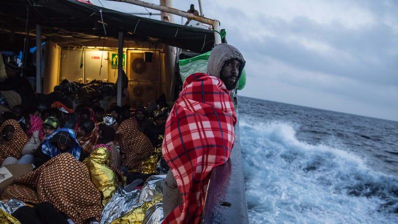 A rescue mission off the Libya coast, February 2017. Image via Getty.