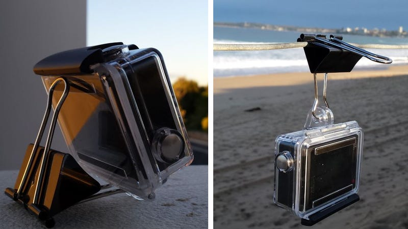 Illustration for article titled Turn a Binder Clip Into a GoPro Stand or Mount