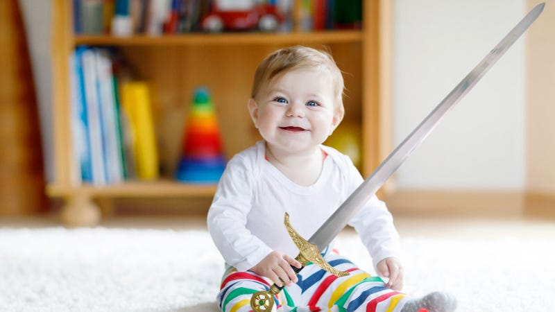 Illustration for article titled Tremendous: This Baby Has Acquired A Sword Somehow