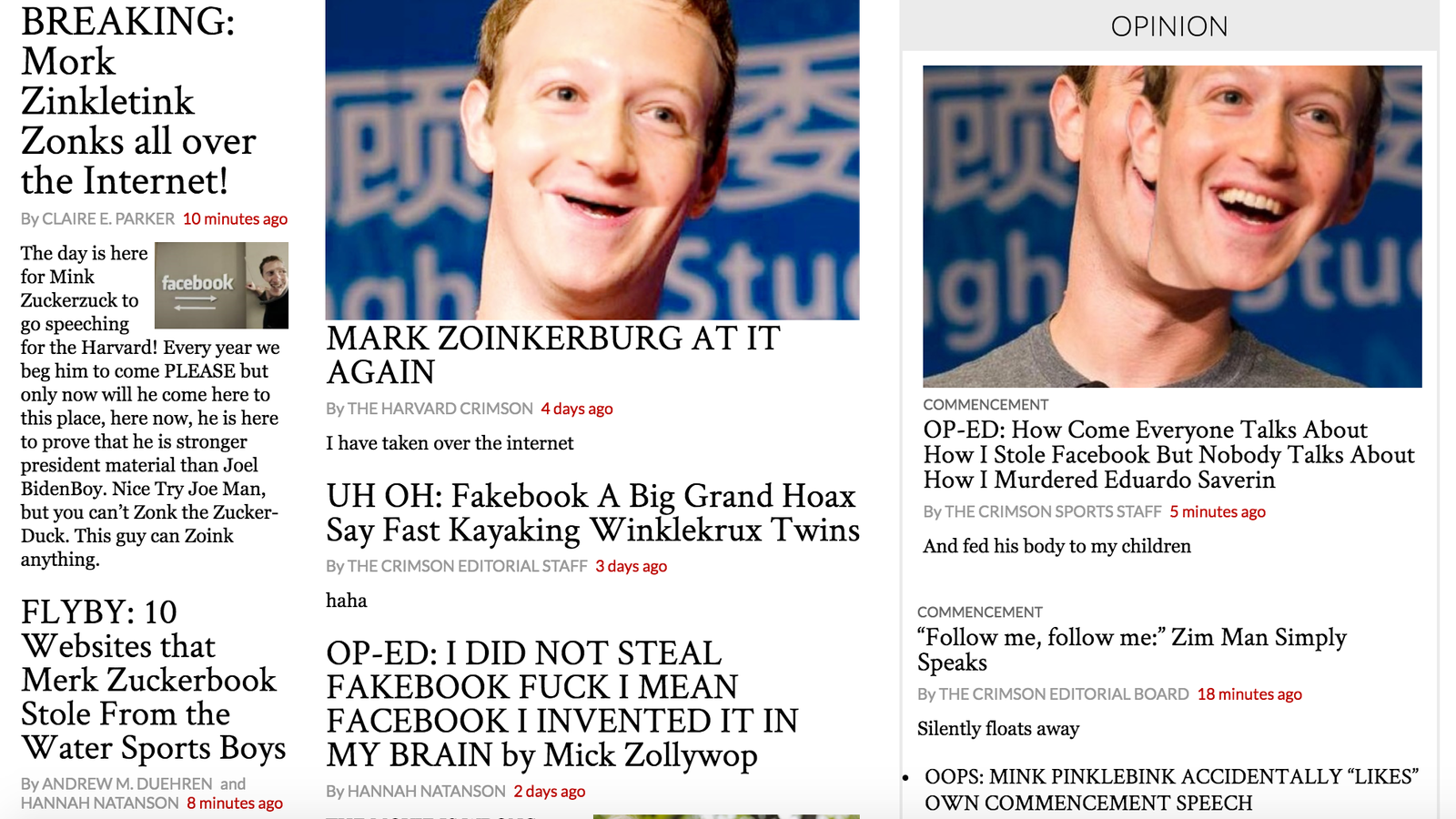 Harvard s student paper is drunk and taking potshots at mark zuckerberg updated