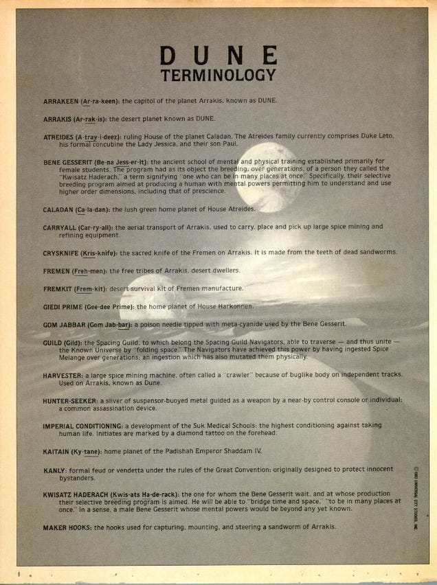 The Glossary Universal Studios Gave Out to the First