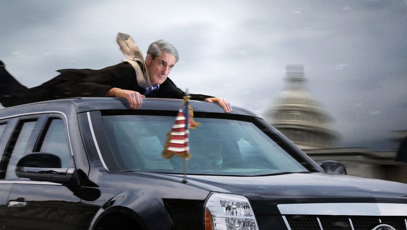 Occupants of the presidential limo thought they had thrown Robert Mueller only for the special prosecutor, who had been gripping the bumper by his fingertips alone, to clamber back onto the vehicle.