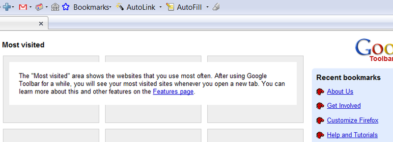 Illustration for article titled Google Toolbar Adds Chrome's New Tab Page to Firefox