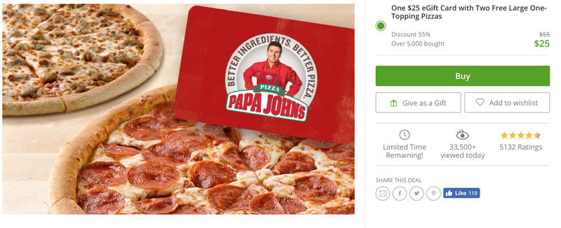 Buy a $25 Papa John's Gift Card, Get Two Large Bonus Pizzas For Free
