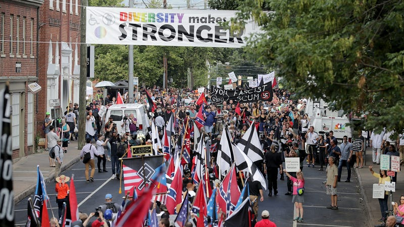 White supremacists, neo-Nazis, and other racist activists headed towards counter-protesters in Charlottesville, Virginia on August 12th, 2017.
