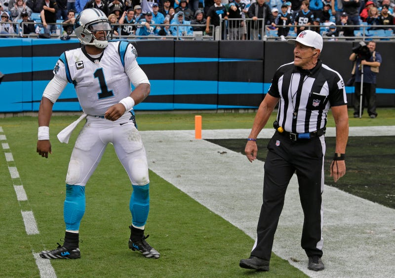 """Illustration for article titled Ed Hochuli Denies Telling Cam Newton He Isn't """"Old Enough"""" To Get A Call"""