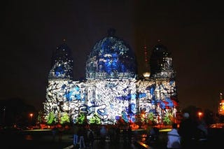 Illustration for article titled The Berliner Dom Projected with Graffiti