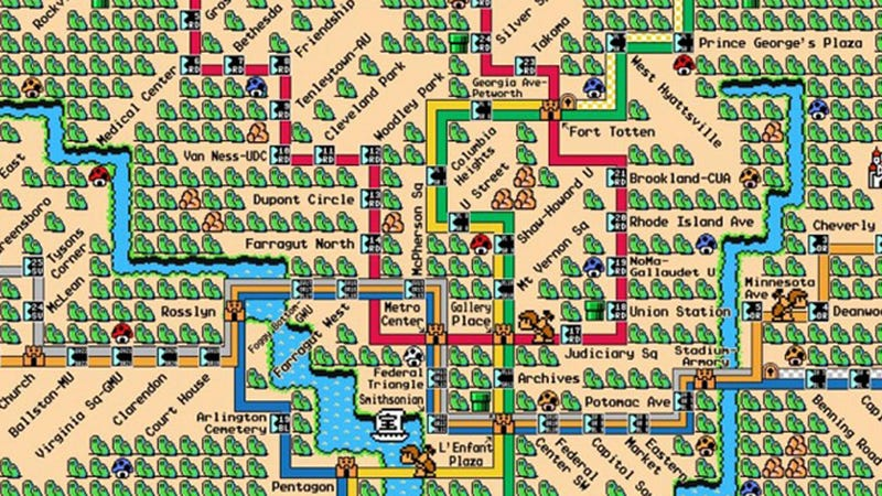 Washington DC\'s Metro Line Makes A Perfect Super Mario World Map