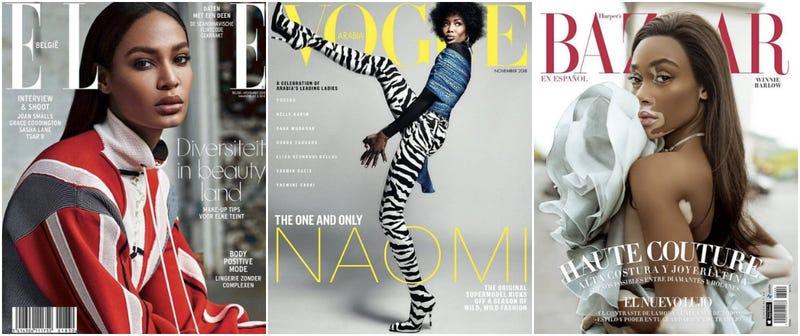 (l-r) Joan Smalls (Elle Belgium, November 2018); Naomi Campbell (Vogue Arabia, November 2018); Winnie Harlow (Harper's Bazaar en Español, November 2018)