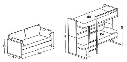 Outstanding Transformer Sofa Magically Morphs Into Bunk Bed Creativecarmelina Interior Chair Design Creativecarmelinacom